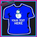PERSONALISED SNOWMAN CHRISTMAS TSHIRT CHILDRENS MENS & LADIES SIZES